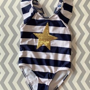 Cat & Jack blue and white striped swimsuit.